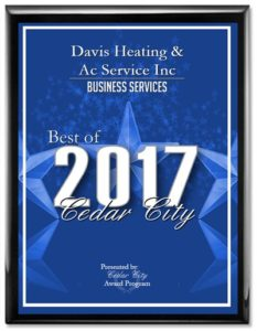 Best of Cedar City award Davis Heating & Air Conditioning